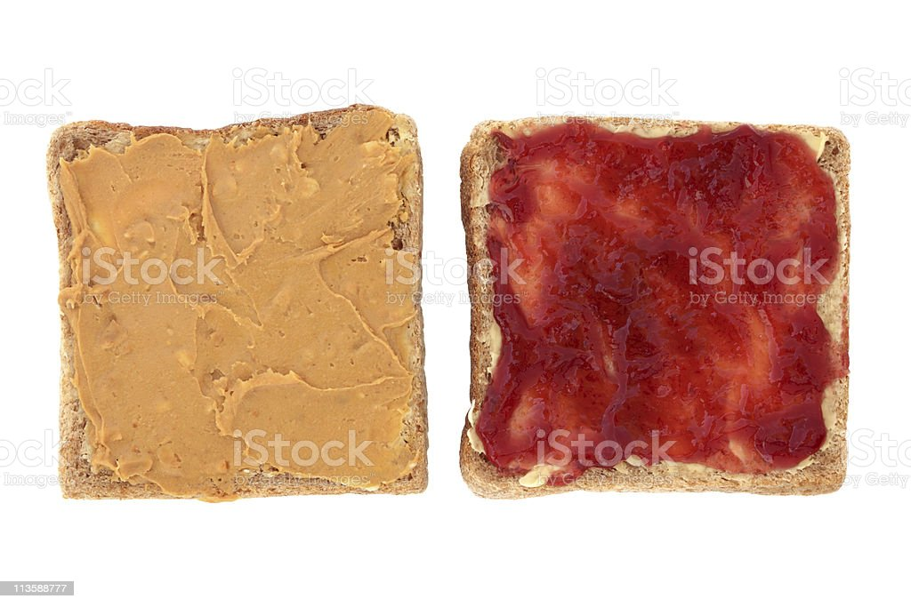 Peanut Butter and Jelly on Sliced Bread stock photo