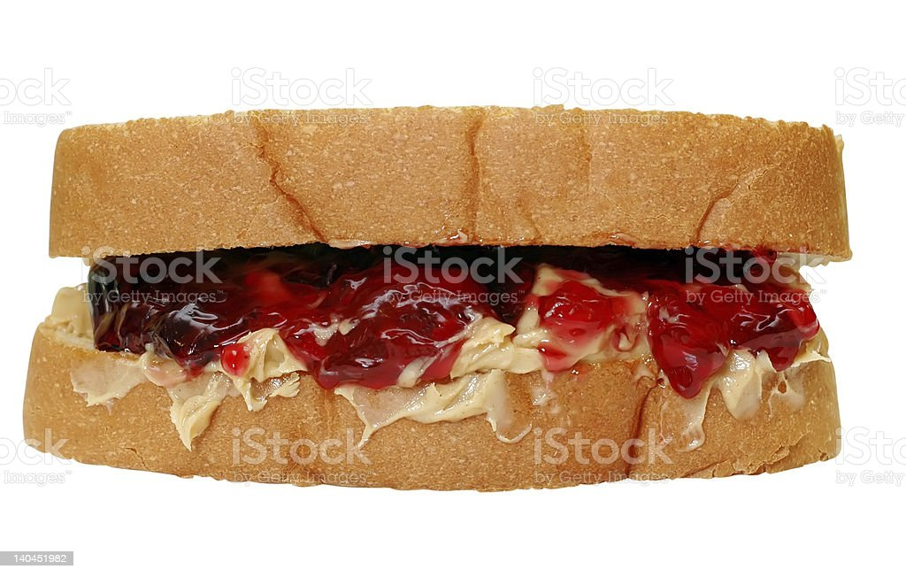 Peanut Butter and Jelly Sandwich Isolated stock photo