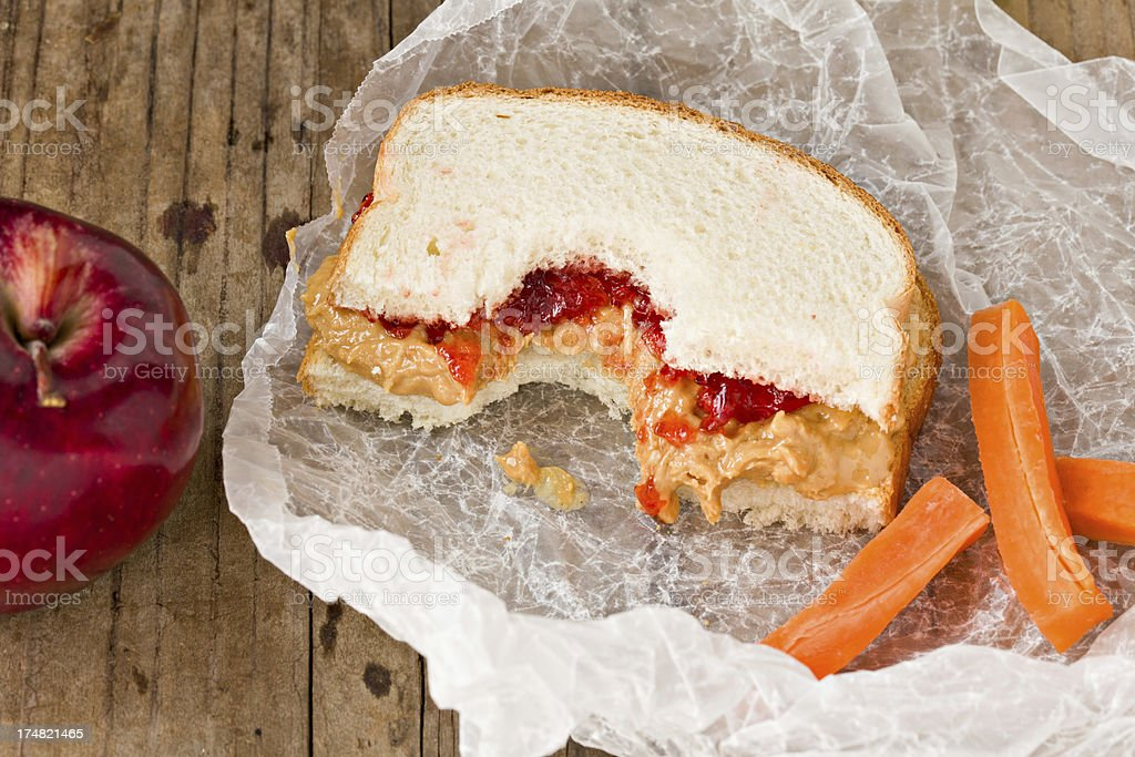 Peanut Butter And Jelly Sandwich Lunch royalty-free stock photo