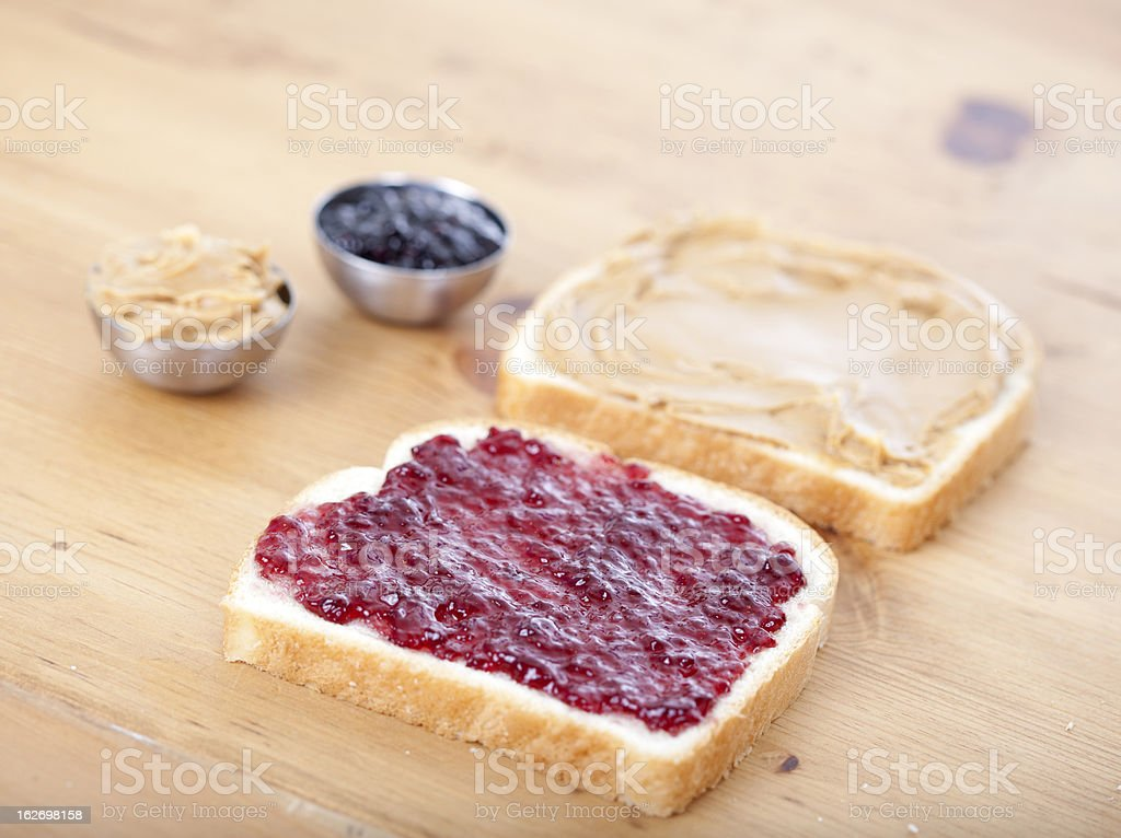 Peanut butter and jelly sandwich royalty-free stock photo
