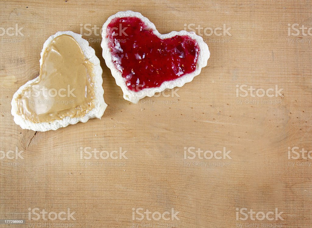 Peanut butter and jelly sandwitch cut in heart shape stock photo
