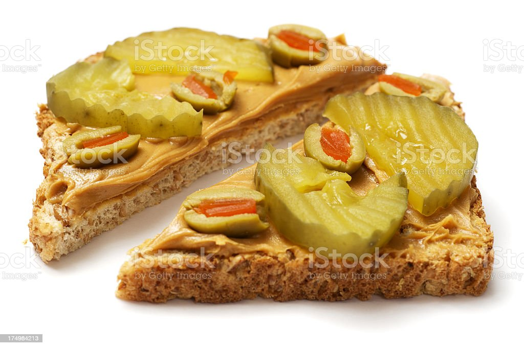 Peanut Butter and Pickle Sandwich royalty-free stock photo
