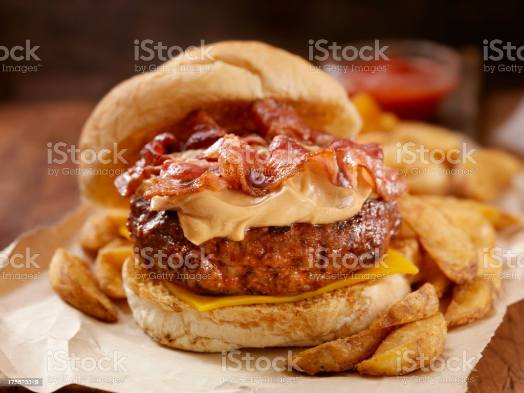 Peanut Butter Bacon Burger stock photo