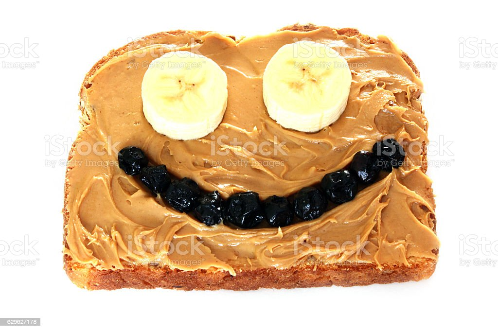 Peanut Butter, Banana and Dried Blueberry Sandwich stock photo