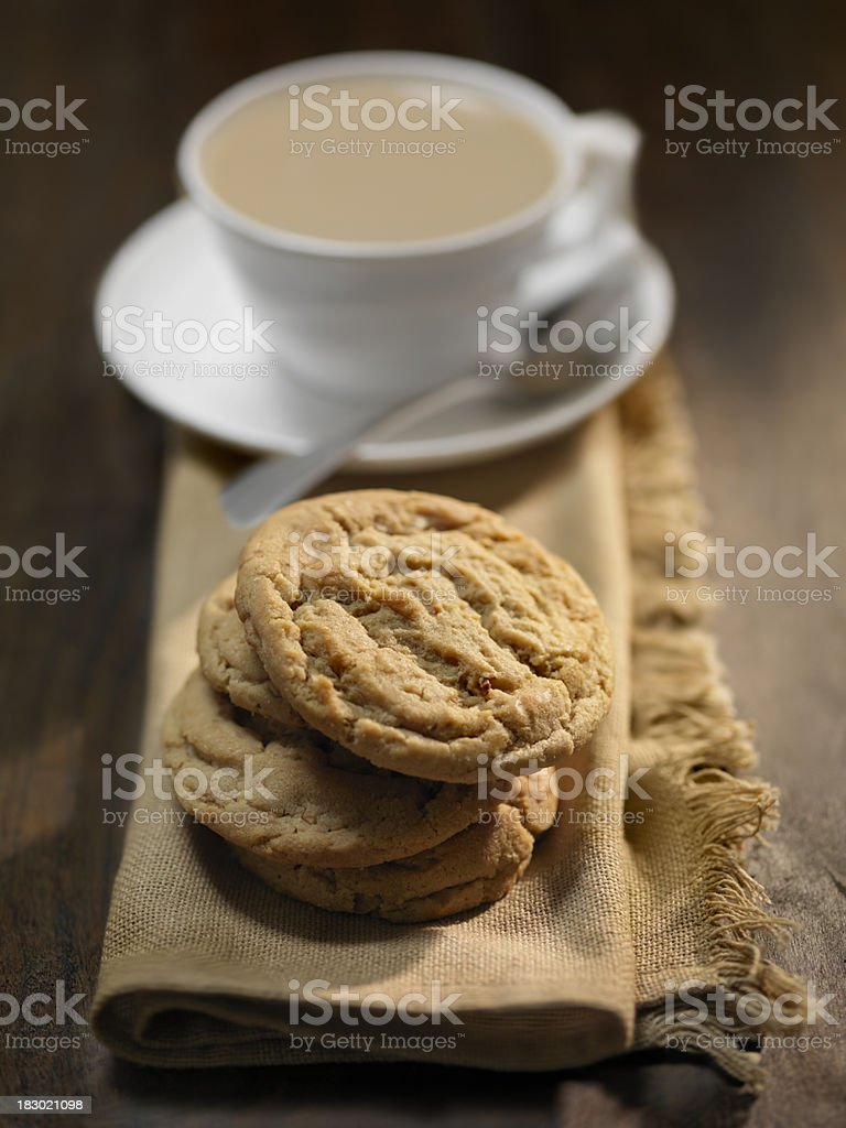 Peanut Butter Cookies and a Cup of Tea royalty-free stock photo