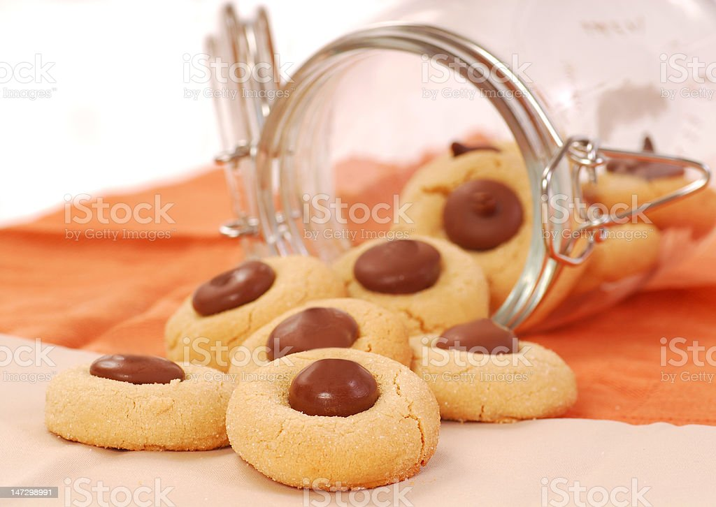 Peanut butter cookies with chocolate royalty-free stock photo