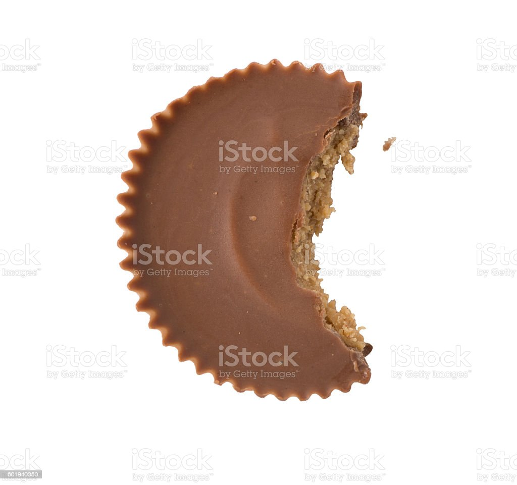 Peanut Butter Cup with bite stock photo