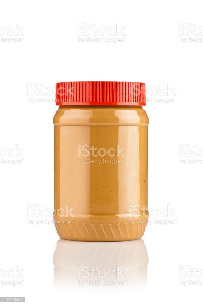 Erdnussbutter-jar isoliert auf weiss – Foto