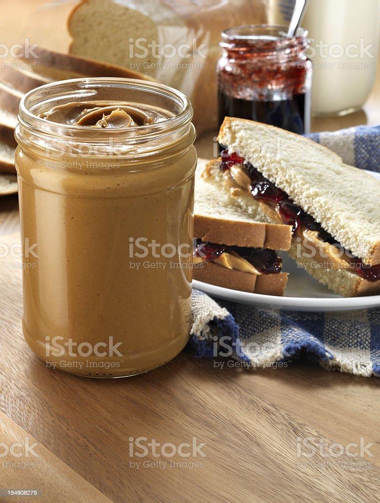 Peanut butter Jar with Sandwich stock photo