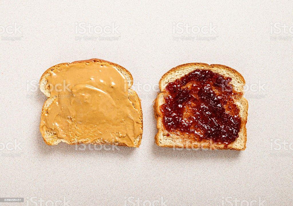Peanut butter jelly sandwitch stock photo