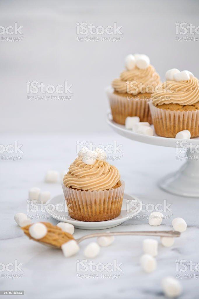Peanut Butter Marshmallow Cupcakes stock photo