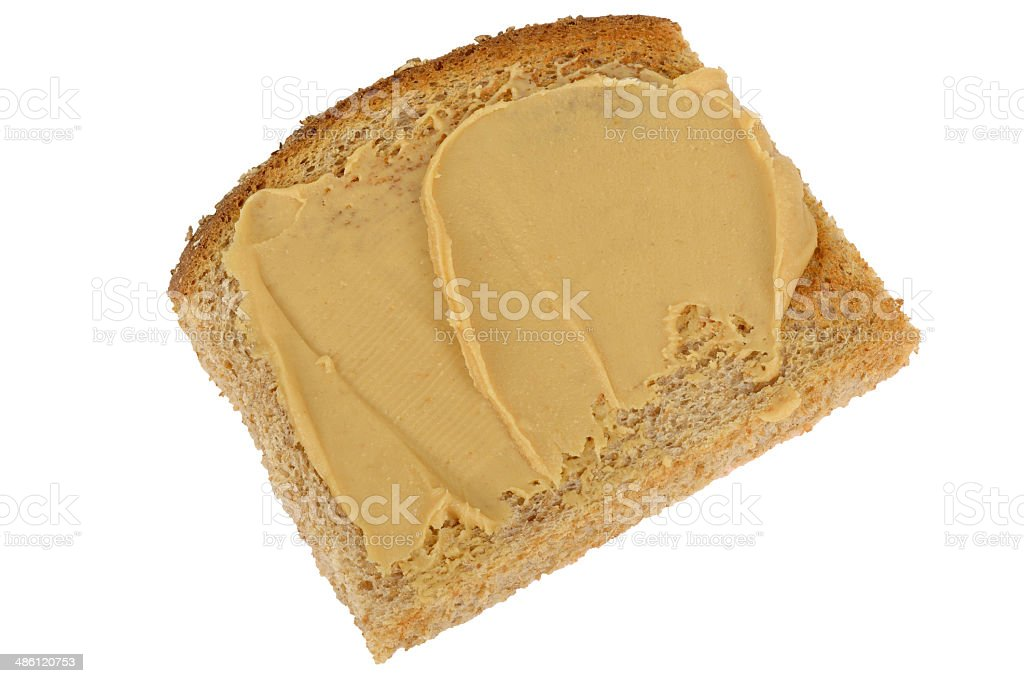 Peanut Butter on Wholemeal Toasted Bread stock photo