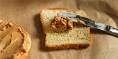 istock peanut butter sandwich, dessert (sweets or snacks, breakfast). food background. top photo 1134304792