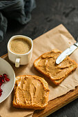 istock peanut butter sandwich, dessert (sweets or snacks, breakfast). food background. top photo 1134304819