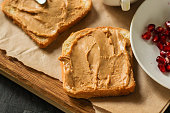 istock peanut butter sandwich, dessert (sweets or snacks, breakfast). food background. top photo 1134304821