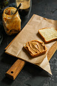 istock peanut butter sandwich, dessert (sweets or snacks, breakfast). food background. top photo 1134308153