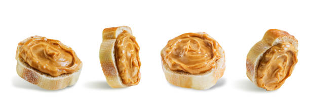 Peanut butter sandwich on a white isolated background stock photo