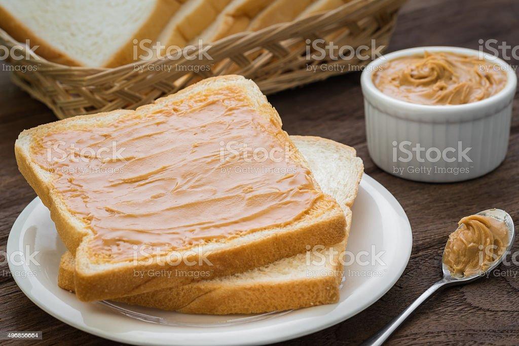 Peanut butter sandwich on plate stock photo