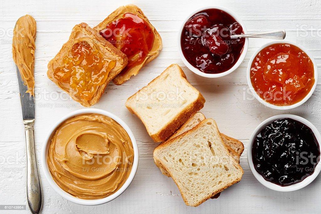 Peanut butter sandwiches stock photo