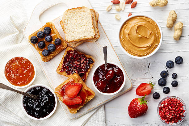 Peanut butter sandwiches stock photo