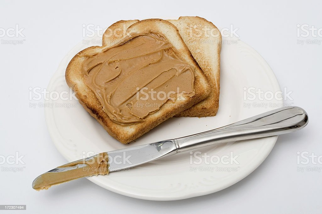 Peanut Butter Toast royalty-free stock photo
