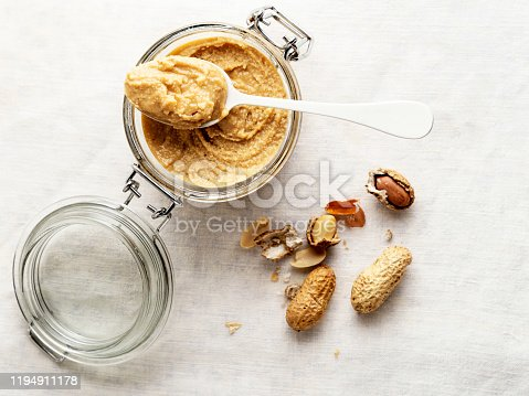 Butter, Cream - Dairy Product, Food, Textured, Butter, Smooth, Peanut - Food, Jar, White Background, breakfast,Nut - Food