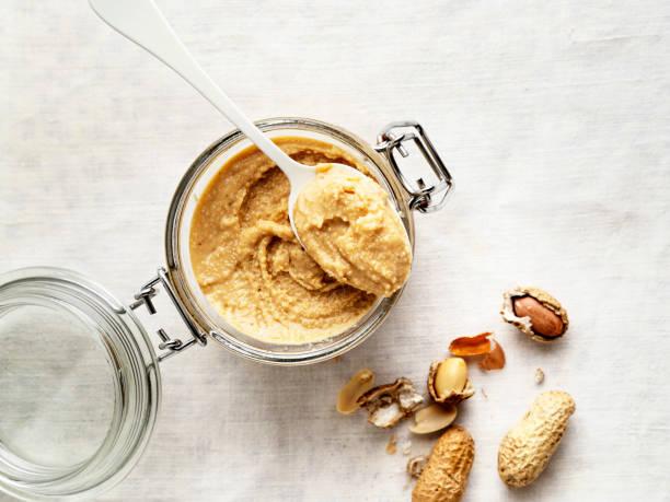 peanut butter,peanut,Jar of peanut butter stock photo