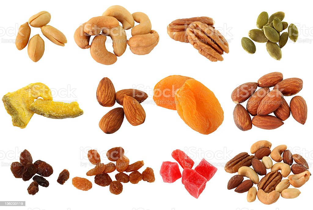 Peanut, Cashew nuts, pecan, almond Isolated on white royalty-free stock photo