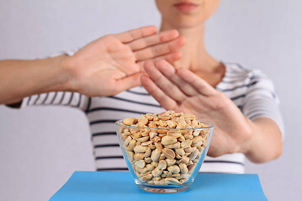 peanut food allergy concept - food allergies stock photos and pictures