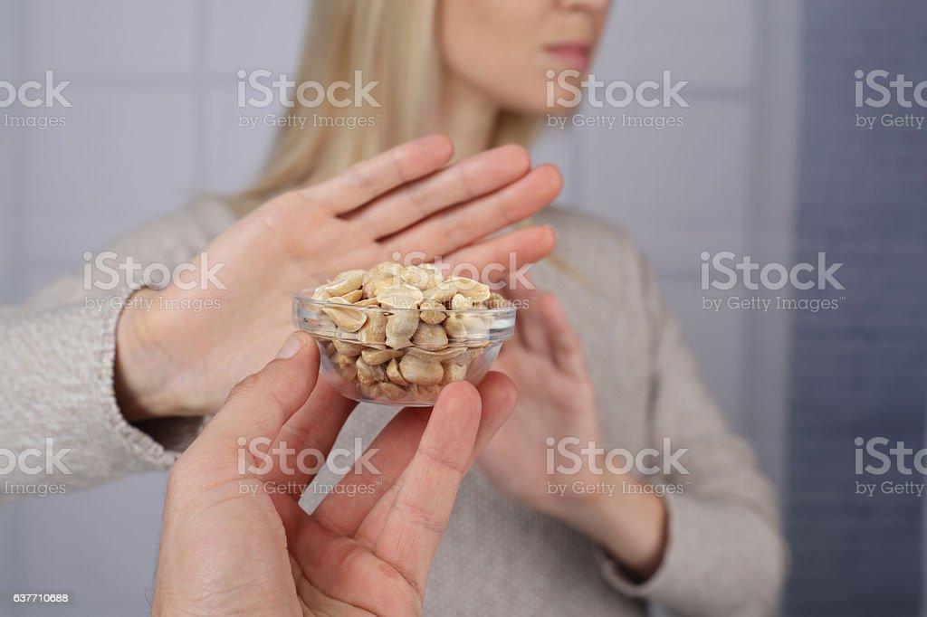 Peanut food allergy concept stock photo