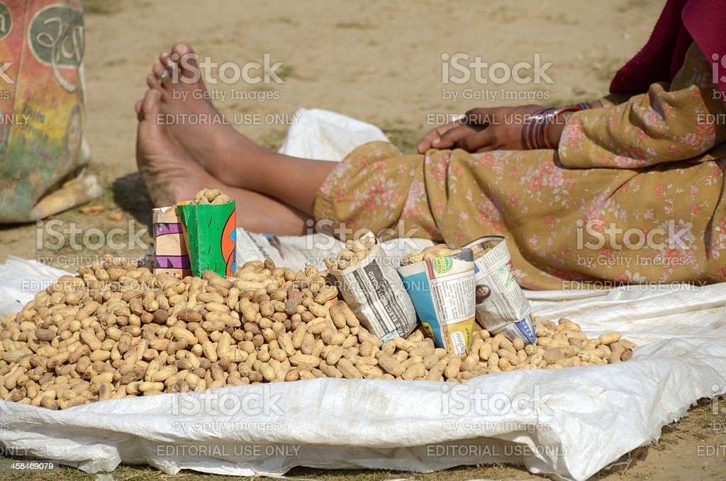 peanut vendor stock photo