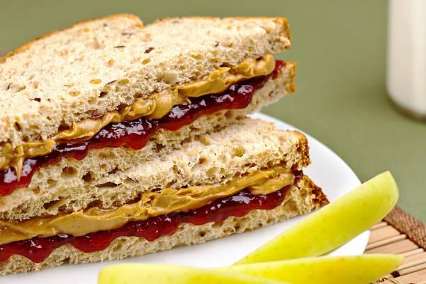 peanutbutter and jelly sandwich - peanutbutter bildbanksfoton och bilder