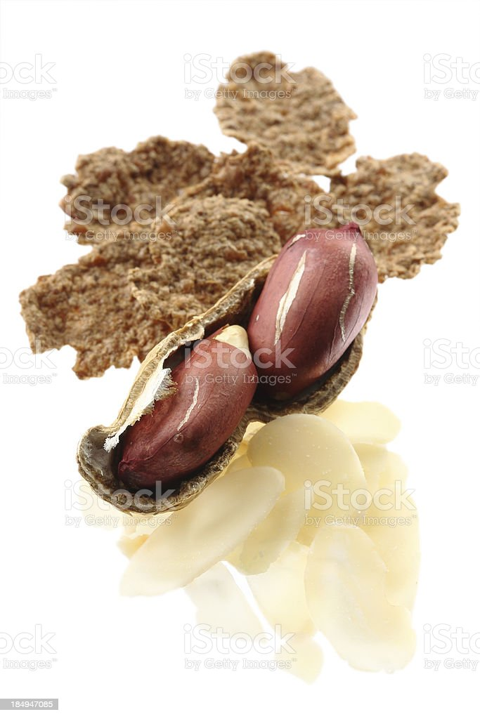 Peanuts, almonds, wheat flakes royalty-free stock photo