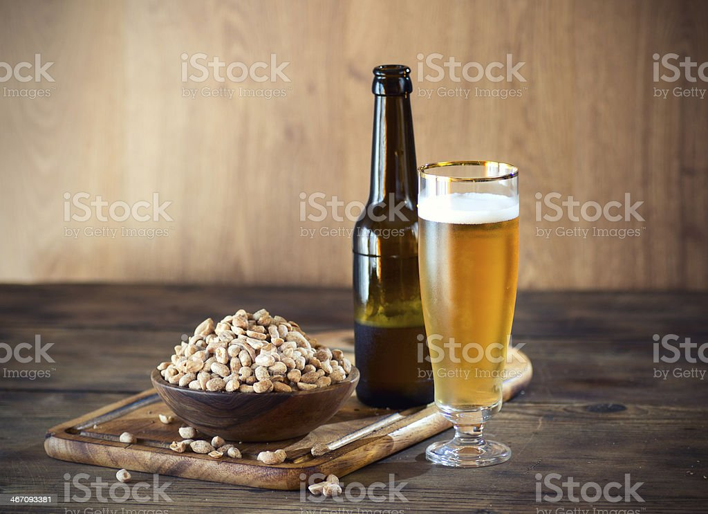 Peanuts and a Beer stock photo