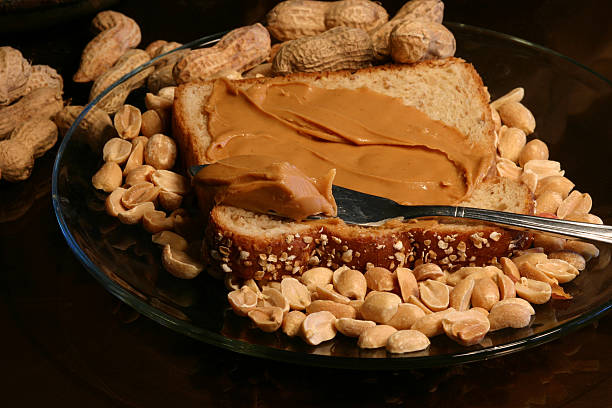 peanuts and peanut butter stock photo