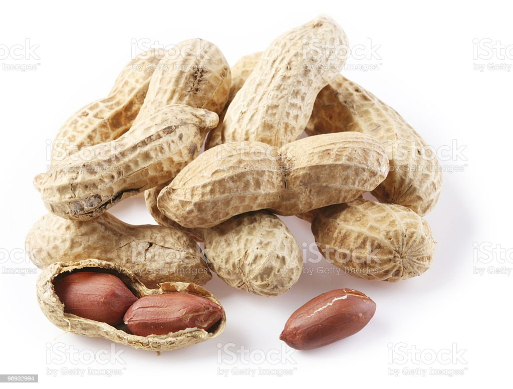 peanuts in shell on a white background royalty-free stock photo