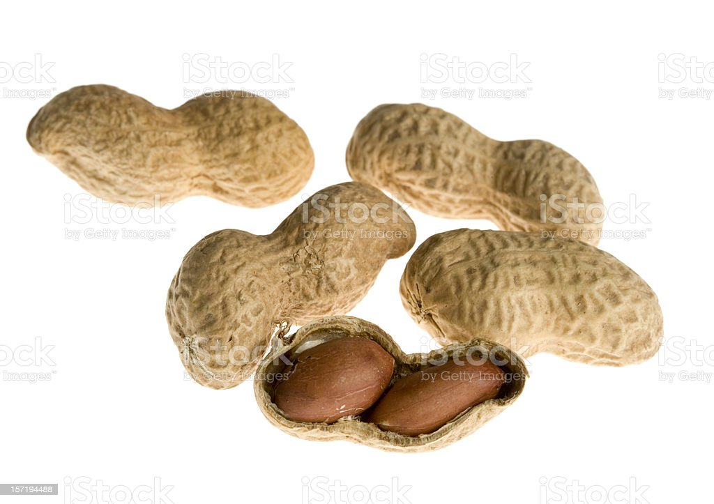 Peanuts in shell on white background royalty-free stock photo