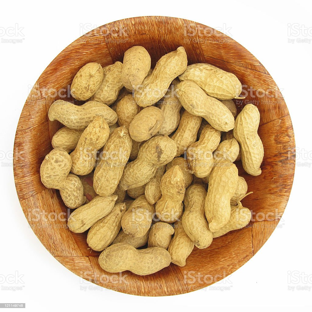 Peanuts in wooden dish royalty-free stock photo