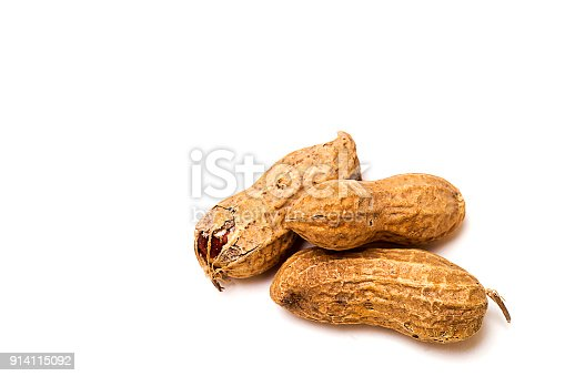 Peanut in various arrangements isolated on white background