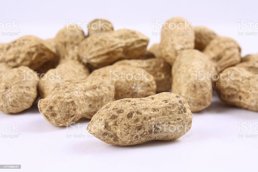 Peanuts on white background royalty-free stock photo