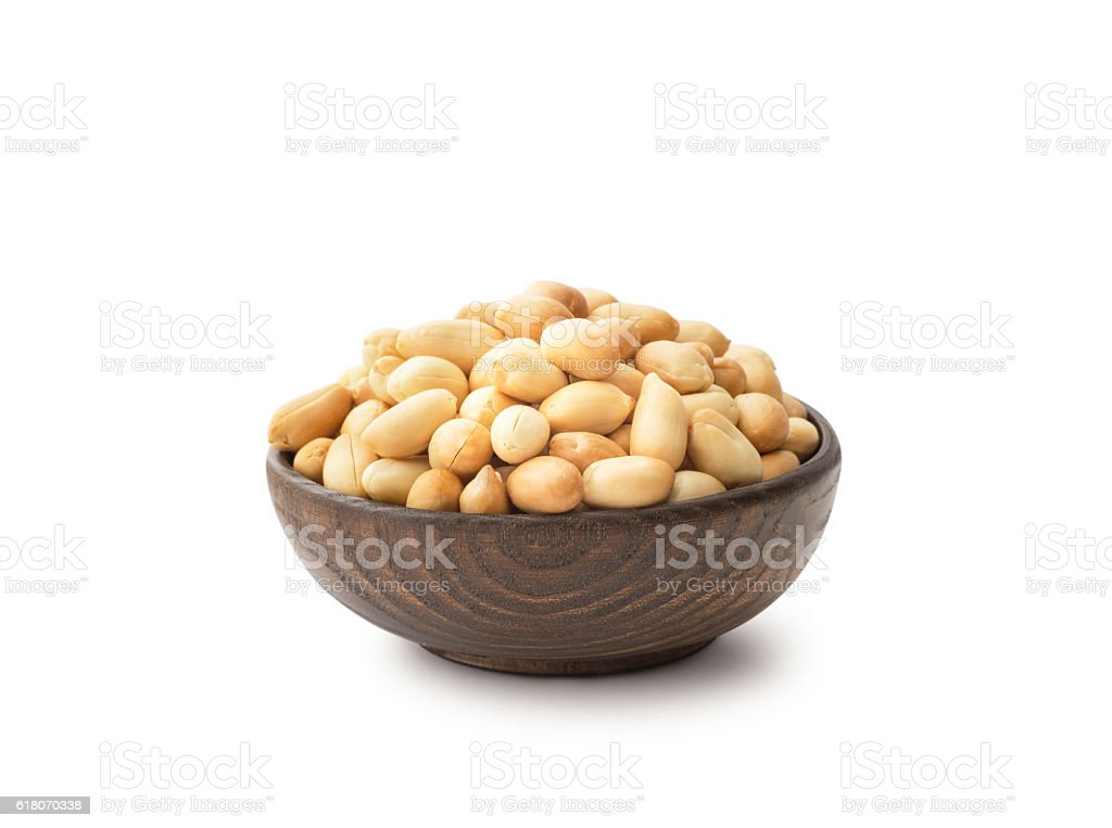 Peanuts with wooden bowl stock photo