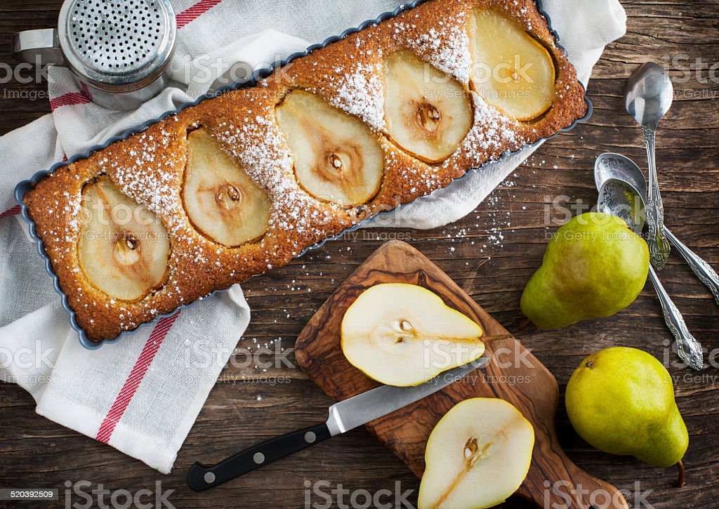 Pear and almond tart stock photo