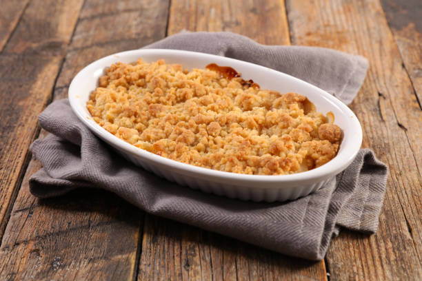 pear and apple crumble stock photo