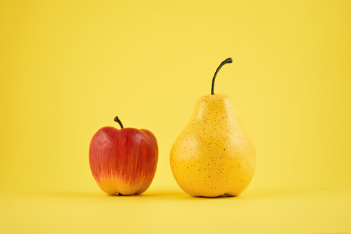 Pear and apple decoration stock images
