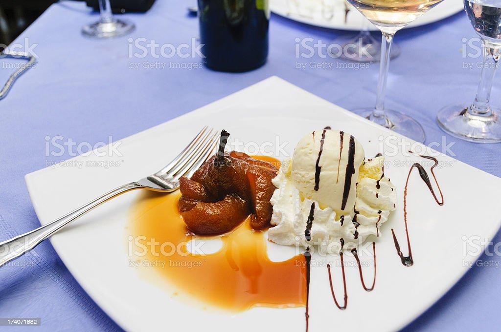 Pear and ice cream dessert stock photo