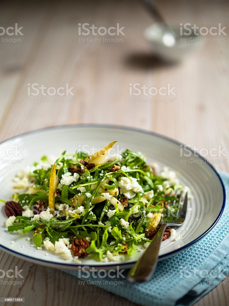 pear and rocket salad stock photo