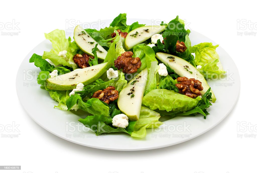 Pear and walnut salad stock photo