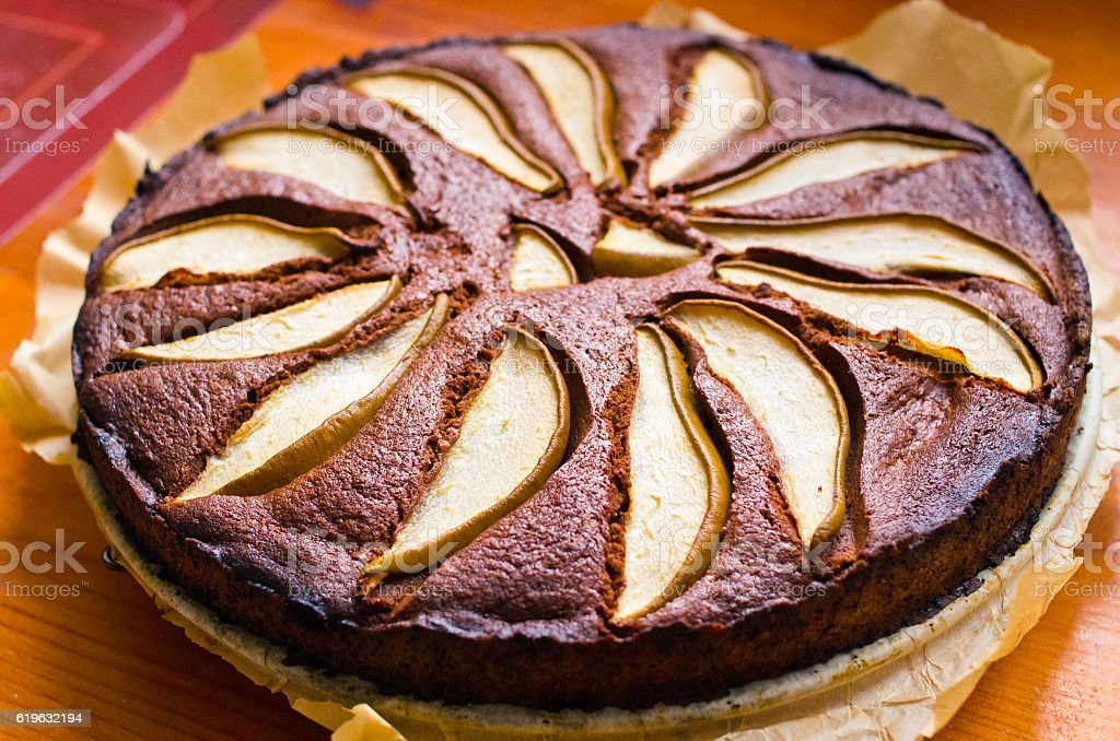 Pear cake with chocolate stock photo
