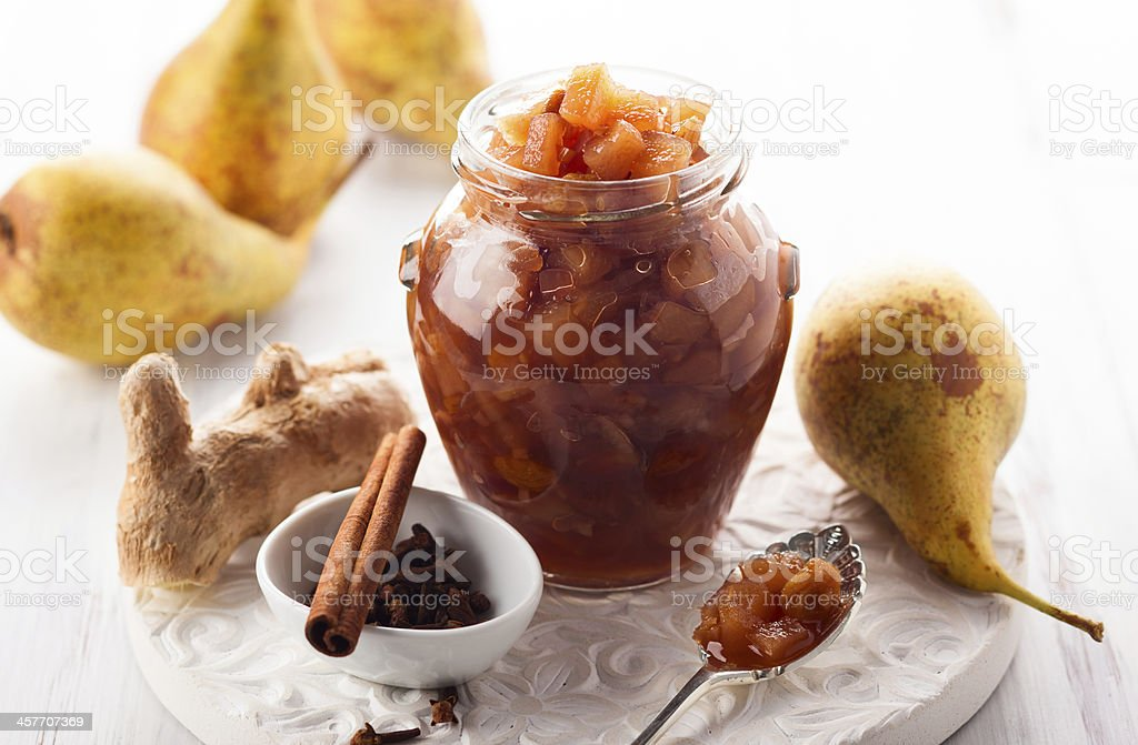 Pear chutney stock photo