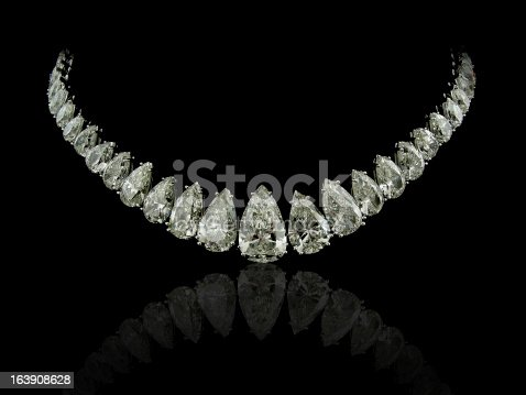 A magnificent necklace with pear cut diamonds